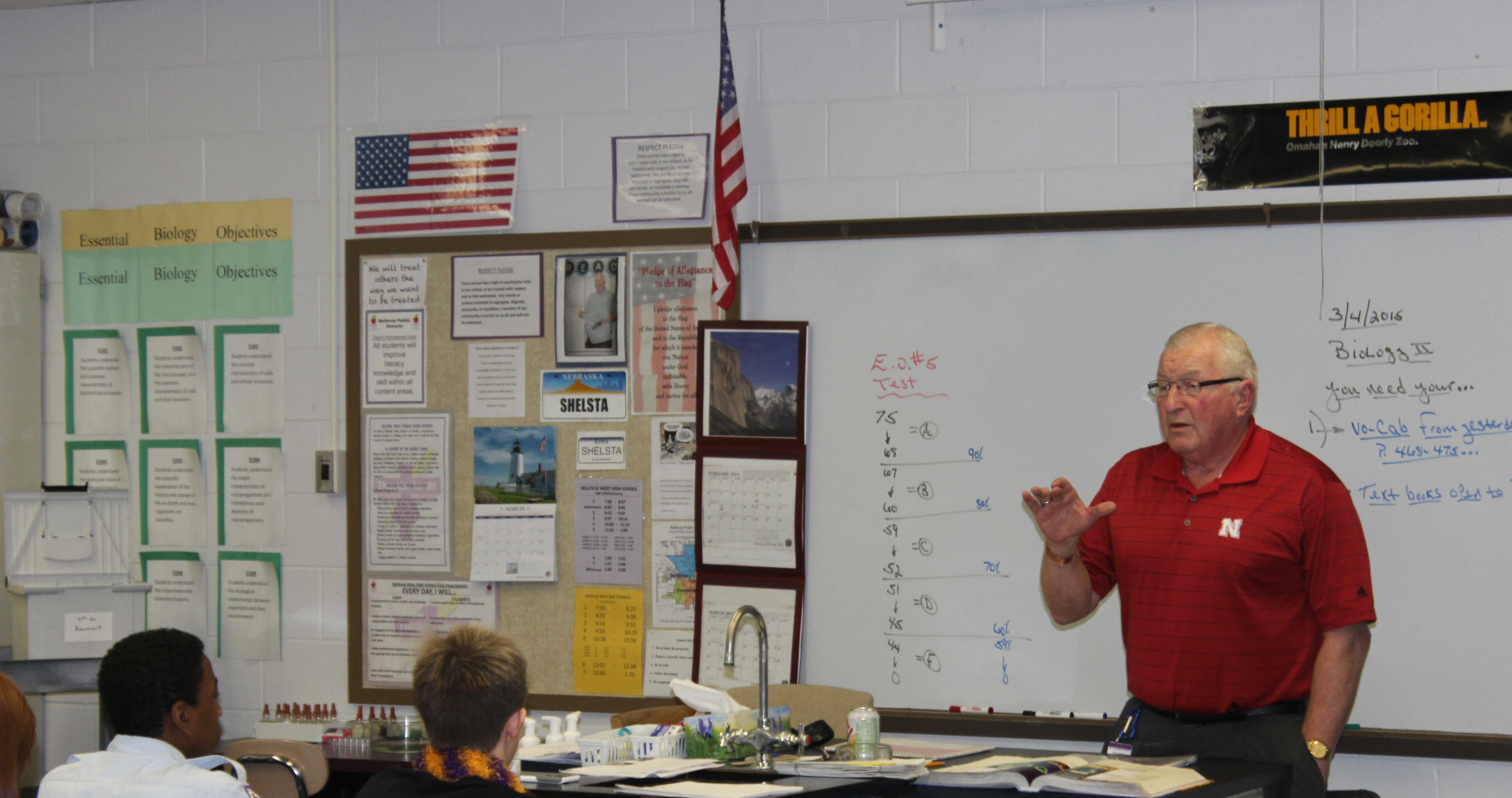 Shelsta teaches freshmen about germ shapes and their effects on the body. Shelsta has taught for 41 years.