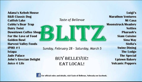 """An old flyer promoting Bellevue restaurants was one element of Garrett Sims' """"Tastes of Bellevue"""" Facebook group. The contest ended March 5."""